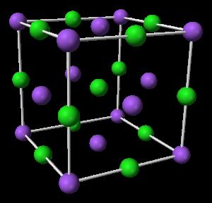 Vihreät ja violetit pallot vuorottelevat yksinkertaisessa kuutiollisessa hilassa.