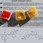 Turkkilaisen makeislaatikon ainesosaluettelon päällä yksi punainen ja kaksi keltaista marmeladia. Alaosassa atsorubiinin ja paraoranssin rakennekaavat.
